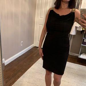 Michael Kors black dress gold mesh shoulders small